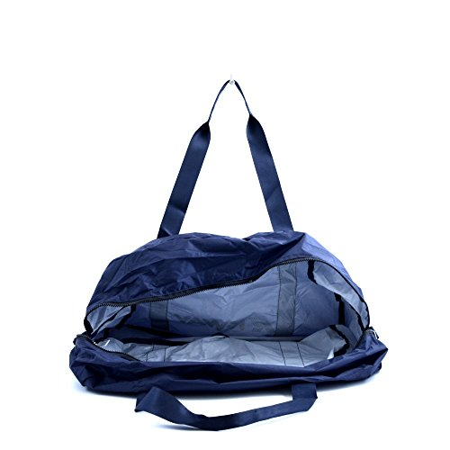 Borsone da viaggio e/o palestra unisex K-Way, modello richiudibile e compattabile nella propria tasca, in tessuto nylon blu