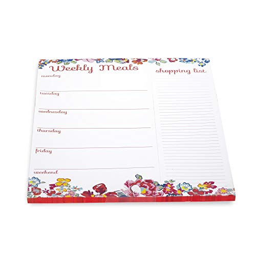 Vera Bradley Weekly Meal Planner and Shopping List Pad with Magnetic Back, 10