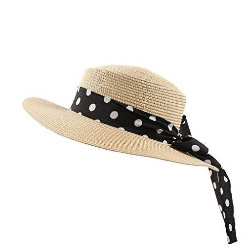 - Sunshinehomely 2019 New Women Dot Bow Knot Straw Cap Panama Style Crushable Sun Hat Floppy Wide Brim Hats Beach Cap (Beige)