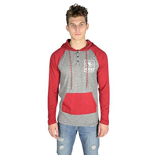 ICER Brands Adult Men Fleece Hoodie Pullover Sweatshirt Henley, Team Color, Red, Small