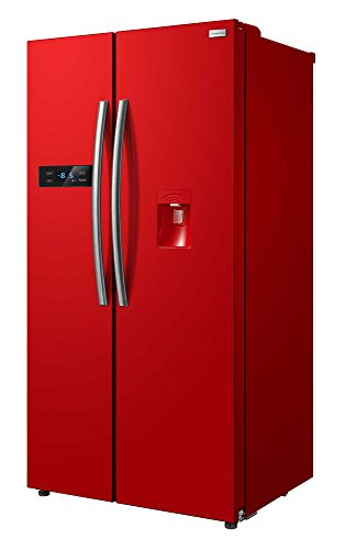 Freestanding 90cm wide Red American Style Fridge Freezer with water...