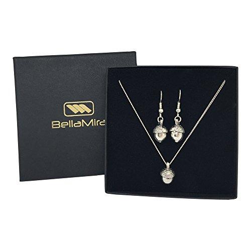Chapado en Plata con acabado envejecido Acorn collar con colgante & pendientes set Fashion Bling Joyería para Niñas Mujeres en caja de regalo de lujo de bellamira