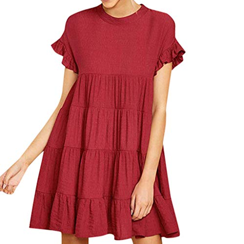 lendly Womens O Neck Ruffle Bell Sleeve Tiered Casual Mini Dress Summer Beach Holiday Party Dresses Loose Sundress