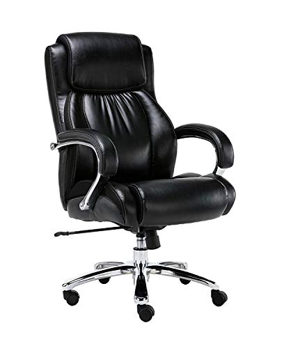 Big and Tall 500 pounds Body Weight Support, Executive Office Chair, Heavy Duty Shiny Bonded Leather, Swivel and tilt, Chrome arms with Extra Thick Padding, Height Adjustment (Black)