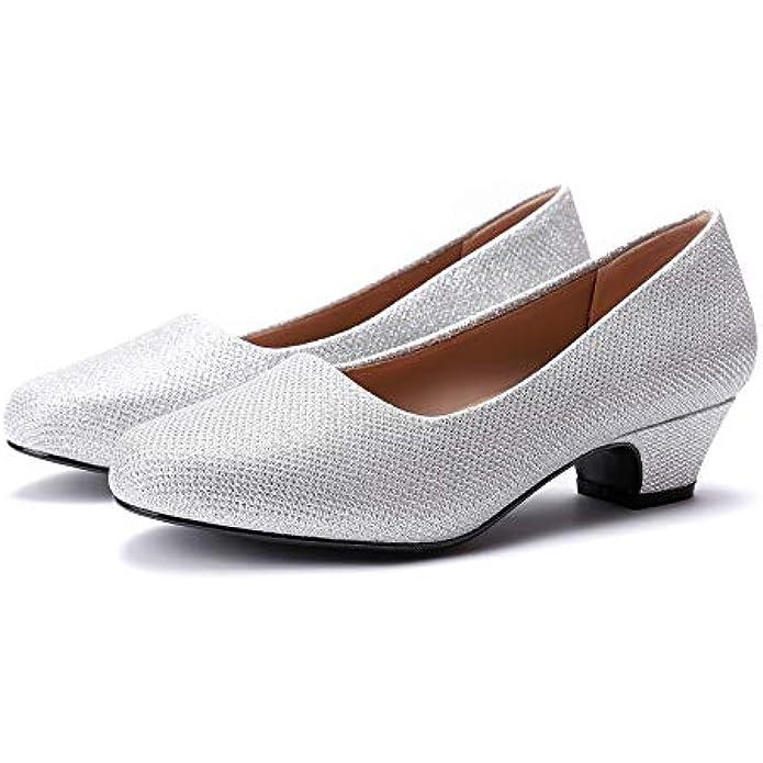 Women's Dress Pumps Low Heels - Formal White Wedding Shoes