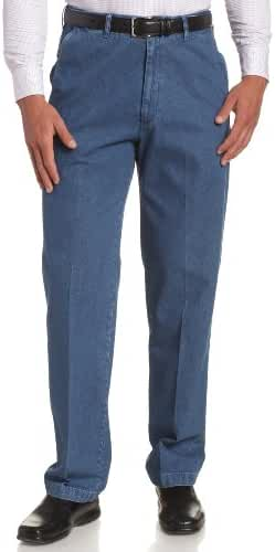 Haggar Men's Work-To-Weekend Hidden Expandable-Waist Plain-Front Denim Pant
