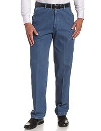 Haggar Men's Work-To-Weekend Hidden Expandable-Waist Plain-Front Denim Pant