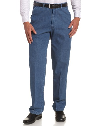Haggar Men's Work To Weekend No Iron Denim Plain Front Pant  ,Med Stonewash,40x29