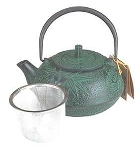 Cast Iron Teapot Kettle 18Oz Green Bamboo Tb2-06G