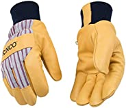 Kinco - Lined Premium Pigskin Leather Work and Ski Gloves, Heatkeep Thermal Insulation, Otto Striped Canvas, F