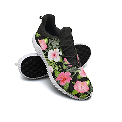 AKDJDS Tropical Flowers And Leaves Women Shoes Running Shoe Trail Runner - Ftd Pink Lily