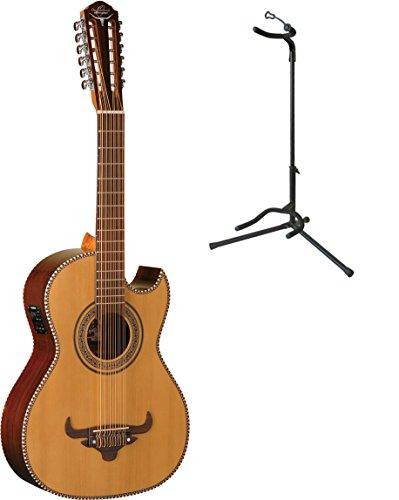 Oscar Schmidt Bajo Sexto A/E Guitar w/ Gig Bag & Stand, Solid Cedar Top, (Bajo Sexto Guitar String)