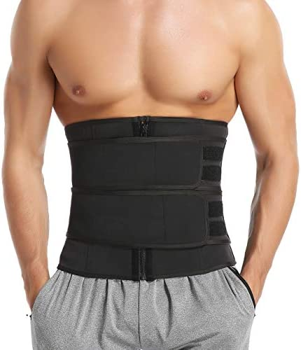 MISS MOLY Sauna Waist Trainer Trimmer Belt for Weight Loss Neoprene Sweat Belt for Men with Double Straps 1
