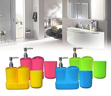 Set 4 piezas de baño con dispensador de jabón y jabonera y soporte cepillo  - Rosa 17882107fe22