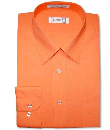 - Men's Solid Burnt Orange Color Dress Shirt w/Convertible Cuffs sz 14 1/2 32/33