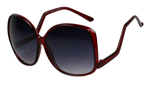 Basik Eyewear - Oversized Square Temple Drop Women's Fashion Sunglasses (Red, 140) (Biker Chick Costumes)