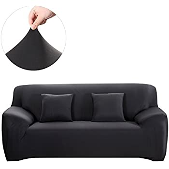 Bon WINOMO Sofa Slipcover Black Couch Covers Furniture Protector With Pillow  Cases Elastic
