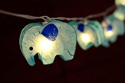 Battery AA Handmade Blue Color Elephant Zoo Animal Plant Paper Lantern String Light Kid Bedroom Light Display Garland (Handmade Lantern)