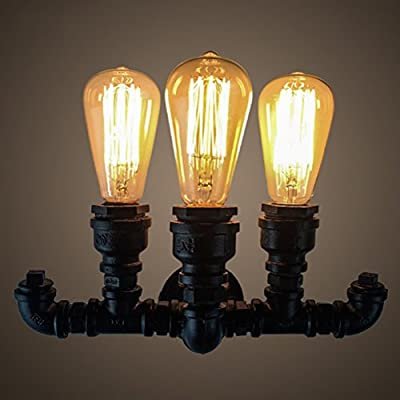 OOFAY Vintage Industry Decoration Wall Light Creativity Nostalgia Restaurant Bar Water Pipe Wall Light 3 Heads Black