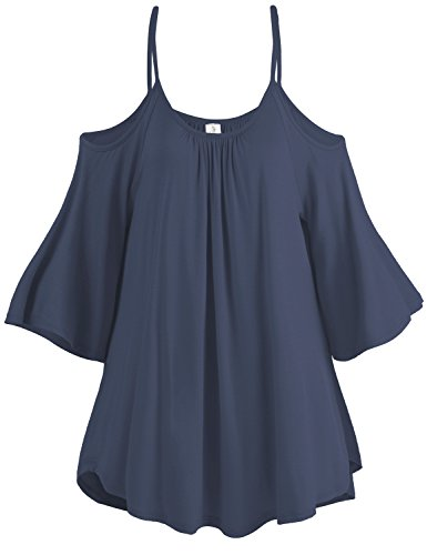 Spaghetti Strap Cold Shoulder Tunic Tops, 003-Navy, US L