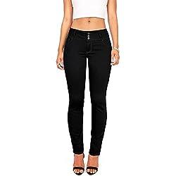 Wax Women's Juniors Body Flattering Mid Rise Skinny Jeans (3, Black)