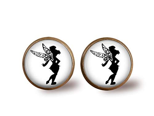 Tinkerbell Silhouette Stud Earrings- Bronze
