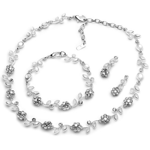 USABride Silver Plated Floral Jewelry Vine 3-Piece Necklace, Earrings & Bracelet Jewelry Set 1556 SV (Floral Earrings Crystal Necklace)