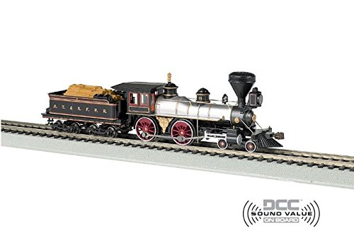 (Bachmann Industries 4-4-0 American Steam DCC Sound Value Santa Fe #91 with Wood Load Locomotive (HO)
