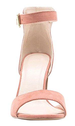 Cambridge Select Mujeres Open Toe Single Band Tobillo Strappy Chunky Envuelto Block Heel Dress Sandal Dusty Blush