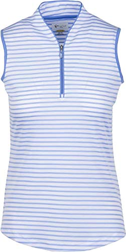 Sleeveless Polo Zip - Greg Norman Women ML75 Zip Stripe Sleeveless Tulip Neck Golf Polo