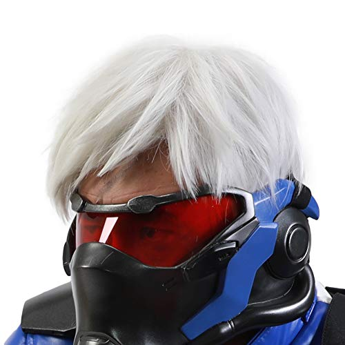 Halloween Costume OW Soldier 76 Wig Cosplay White Short Layered Hair Free Wig Cap Adults Men/Teens]()