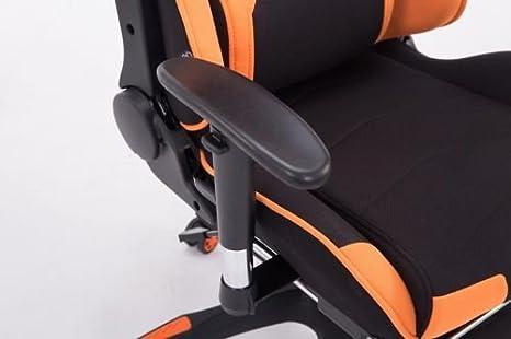 CLP Silla Gaming Turbo Tapizado de Tela I Silla Gamer Giratoria I Silla Racing Regulable en Altura I Silla Oficina con Reposapiés I Color: Negro/Naranja: ...