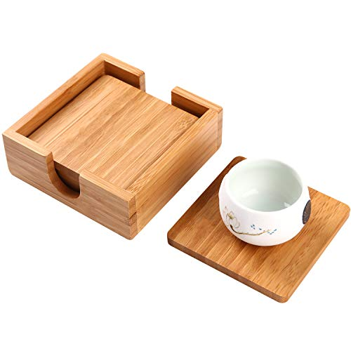 - Utoplike Bamboo 4 Pieces Square Coasters set cup mat with Holder 4.25×4.25inches