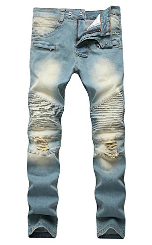 FEESON Men's Biker Moto Skinny Ripped Destroyed Distressed S