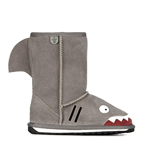EMU Australia Little Creatures-Shark Snow Boot (Toddler/Little Kid/Big Kid),Putty,11 M US Little -