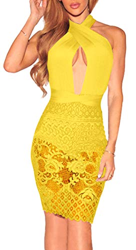 Women Bodycon Skirt Suits Sexy Bandage Slimming Pencil Lace Dress V Neck Sleeveless Backless Party Club Night Yellow