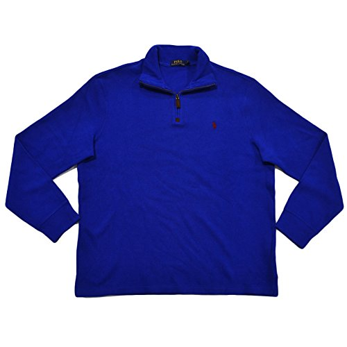 (Polo Ralph Lauren Mens French Rib Quarter Zip Mock Neck Sweater (L, Cruise Royal Blue))
