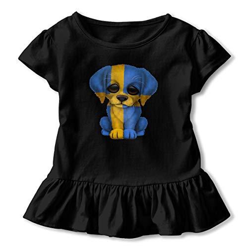 Alfred Weekjey Patriotic Swedish Flag Puppy Dog Girls' Toddler Short-Sleeve Tunic Peplum Blouse Shirt -