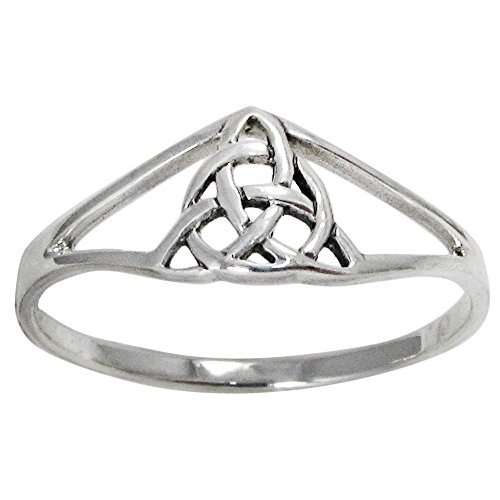 Sterling Silver Trinity Knot Slender Band Ring (sz 4-15) sz 7