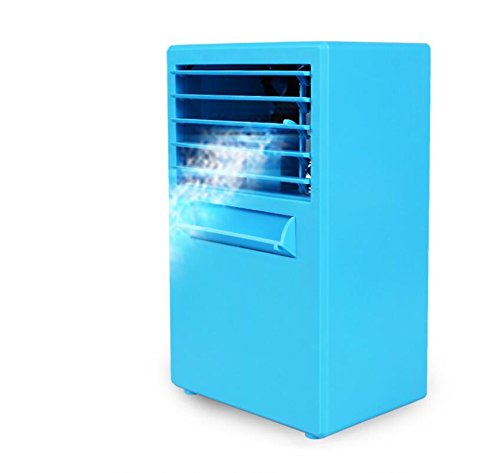 JM-capricorns Mini Portable Air Conditioner Fan,Portable Misting Desktop Table Desk Cooling Fan Evaporative Air Circulator Cooler Humidifier Bladeless Quiet for Office, Dorm, Upgrade Version Blue