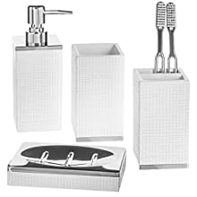 Creative Scents Estella 4 Piece Bathroom Accessories Set, Includes Decorative Countertop Soap Dispenser, Dish, Tumbler, Toothbrush Holder, Resin Vanity Ensemble Set, Gift Boxed (White)