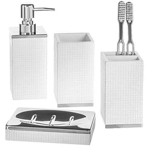 Estella 4 Piece Bathroom Accessories Set, Includes Decorative Countertop Soap Dispenser, Dish, Tumbler, Toothbrush Holder, Resin Vanity Ensemble Set, Gift Boxed (White)