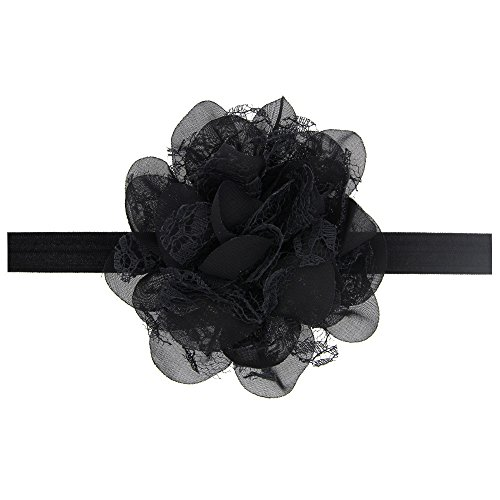 Floral Fall Baby Girls Cute Elastic Chiffon Lace flower Headbands Hair Bands BY-36 (Black) (Baby Girl Black Headbands)