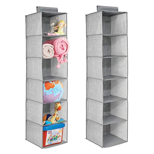 mDesign Long Soft Fabric Over Closet Rod Hanging Storage Organizer with 6 Shelves for Child/Kids Room or Nursery - Textured Print - 2 Pack - Gray