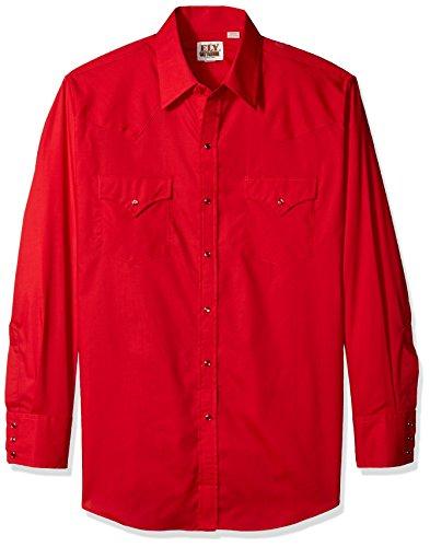 Ely & Walker Men's Long Sleeve Solid Western Shirt, Red, ...