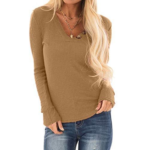 - AOJIAN Blouse Women Long Sleeve T Shirt Tees Tank V-Neck Buttons Elastic Tunic Shirts Tops