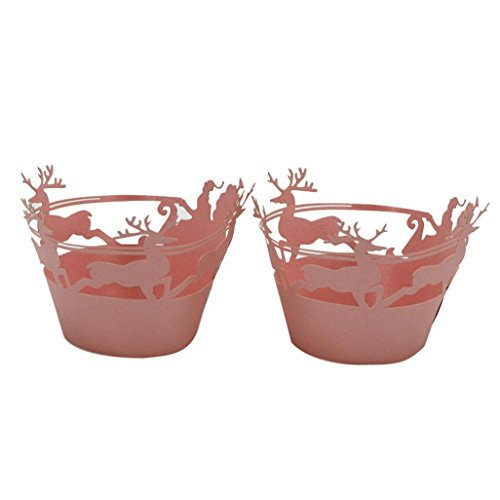 Staron Cupcake Wrappers 24pcs Christmas Deer Design Artistic Bake Cake Paper Cups Lace Cut Liner Baking Cup Muffin Case Trays for Xmas Party Decoration (Pink)