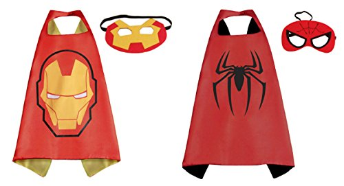Ironman & Spiderman Costumes - 2 Capes, 2 Masks with Gift Box by Superheroes