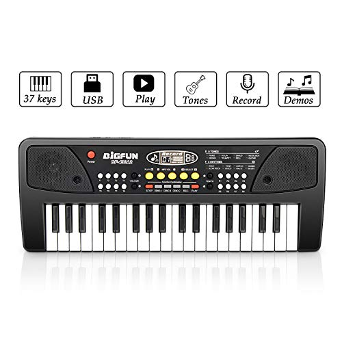 Aiyou Kids Piano Keyboard 37 Keys Portable Electronic Musical Instrument Multi-Function Keyboard Teaching Toys Birthday Christmas Day Gifts for Kids (Black)