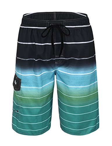 Nonwe Men's Beachwear Quick Dry Striped Beach Shorts Green 36